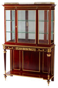 Furniture, A French Napoleon III Gilt Bronze Mounted Mahogany Vitrine Cabinet, 19th century . 68 x 44-1/2 x 16 inches (172.7 x 113.0 x ...