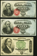 Fractional Currency:Fourth Issue, Fr. 1376 50¢ Fourth Issue Stanton (2) Very Fine;. Fr. 1379 50¢ Fourth Issue Dexter Fine-Very Fine.. ... (Total: 3 notes)