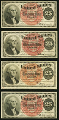 Fractional Currency:Fourth Issue, Fr. 1301 25¢ Fourth Issue Very Fine;. Fr. 1301 25¢ Fourth Issue (3) Very Fine-Extremely Fine.. ... (Total: 4 notes)
