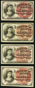 Fractional Currency:Fourth Issue, Fr. 1257 10¢ Fourth Issue (2) Very Fine-Extremely Fine;. Fr. 1258 10¢ Fourth Issue (2) Extremely Fine.. ... (Total: 4 notes)