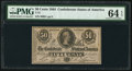 Confederate Notes:1864 Issues, T72 50 Cents 1864 PF-1 Cr. 578 PMG Choice Uncirculated 64 EPQ.. ...