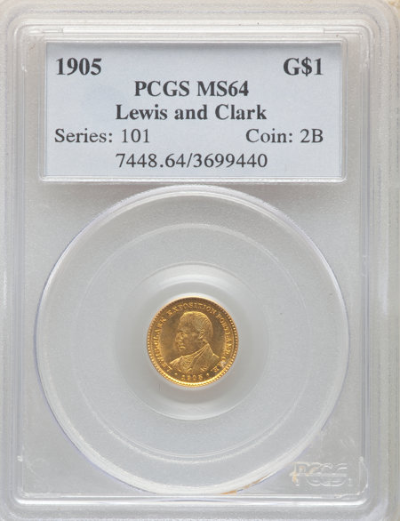 1905 G$1 Lewis and Clark, MS 64 PCGS