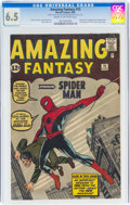 Silver Age (1956-1969):Superhero, Amazing Fantasy #15 (Marvel, 1962) CGC FN+ 6.5 Cream to off-white pages....