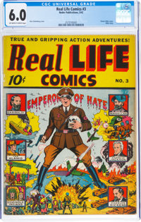 Real Life Comics #3 (Nedor Publications, 1942) CGC FN 6.0 Off-white to white pages