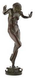 Sculpture, Harriet Whitney Frishmuth (American, 1880-1980). Scherzo, cast 1929-31. Bronze with green-brown patina. 23-1/4 inches (5...