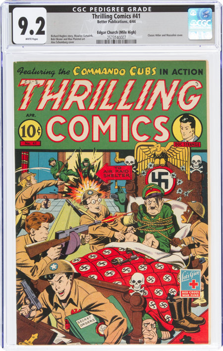 Thrilling Comics #41 Mile High Pedigree (Better Publications, 1944) CGC NM- 9.2 White pages....