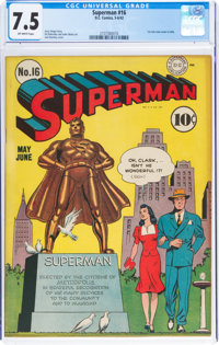 Superman #16 (DC, 1942) CGC VF- 7.5 Off-white pages