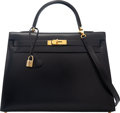 """Luxury Accessories:Bags, Hermès 35cm Black Calf Box Leather Sellier Kelly Bag with Gold Hardware. X Circle, 1994. Condition: 3 . 14"""" Width ..."""