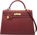 """Luxury Accessories:Bags, Hermès 32cm Rouge H Calf Box Leather Sellier Kelly Bag with Gold Hardware. E Square, 2001. Condition: 3. 13"""" Width..."""
