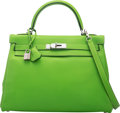 "Luxury Accessories:Bags, Hermès 32cm Vert Cru Swift Leather Retourne Kelly Bag with Palladium Hardware. E Square, 2001. Condition: 3. 12.5""..."