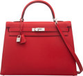 Luxury Accessories:Bags, Hermès 35cm Rouge Casaque Epsom Leather Sellier Kelly Bag with Palladium Hardware. R Square, 2014. Condition: 2. 1...