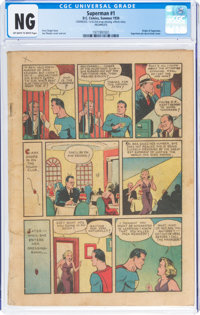 Superman #1 Coverless/Incomplete (DC, 1939) NG Off-white to white pages