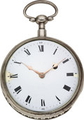 Timepieces:Pocket (pre 1900) , Swiss Large Silver Quarter Hour Repeater, Verge Fusee, circa 1830. ...