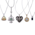Estate Jewelry:Necklaces, Diamond, Colored Diamond, Multi-Stone, Gold Pendant-Necklaces. ... (Total: 5 Items)