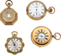 Timepieces:Pocket (pre 1900) , Four Gold Watches, Two 14k, Two 18k Gold. ... (Total: 4 Items)