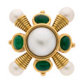 Estate Jewelry:Brooches - Pins, Emerald, Mabe Pearl, Cultured Pearl, Gold Brooch . ...