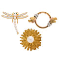 Estate Jewelry:Brooches - Pins, Diamond, Emerald, Cultured Pearl, Gold Brooches. ... (Total: 3 Items)