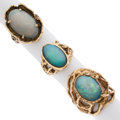 Estate Jewelry:Rings, Opal, Opal Doublet, Gold Rings. ... (Total: 3 Items)
