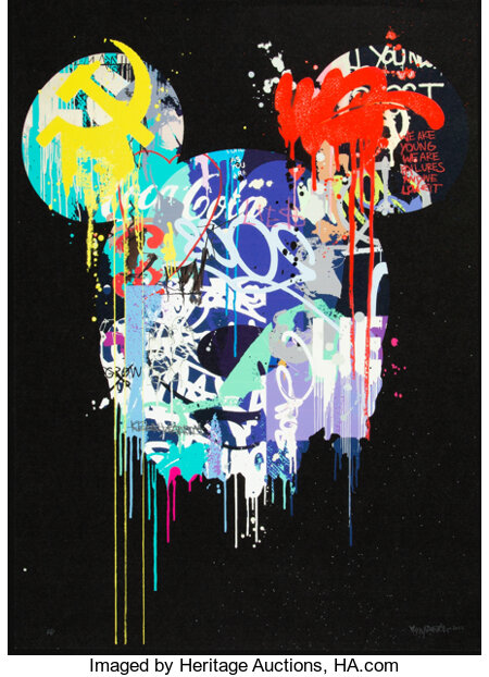 Kenny Random (20th century) Beautiful Lies (BL1), 2012 Offset lithograph print in colors with hand applied spray paint...