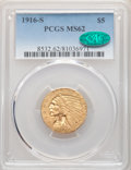 Indian Half Eagles: , 1916-S $5 MS62 PCGS. CAC. PCGS Population: (385/367). NGC Census: (352/149). CDN: $1,650 Whsle. Bid for NGC/PCGS MS62. Mint...