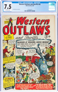 Western Outlaws and Sheriffs #62 (Marvel, 1950) CGC VF- 7.5 Off-white pages