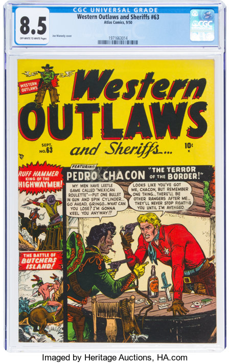 Western Outlaws and Sheriffs #63 (Marvel, 1950) CGC VF+ 8.5 Off-white to white pages....