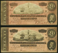 Confederate Notes:1864 Issues, T67 $20 1864 Two Examples Very Fine or Better.. ... (Total: 2 notes)