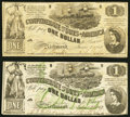 Confederate Notes:1862 Issues, T44 $1 1862 Fine-Very Fine;. T45 $1 1862 About New.. ... (Total: 2 notes)