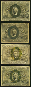 Fractional Currency:Second Issue, Fr. 1284 25¢ Second Issue Two Examples. Fine-Very Fine;. Fr. 1286 25¢ Second Issue Fine;. Fr. 1288 25¢ Second Issue Fi... (Total: 4 notes)