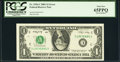 Error Notes:Inverted Reverses, Inverted Back Error Fr. 1926-C $1 2001 Federal Reserve Note. PCGS Gem New 65PPQ.. ...