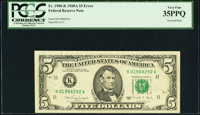 Inverted Back Error Fr. 1980-K $5 1988A Federal Reserve Note. PCGS Very Fine 35PPQ