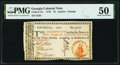 Colonial Notes:Georgia, Georgia 1776 $1 Orange Seal Justice PMG About Uncirculated 50.. ...
