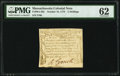Colonial Notes:Massachusetts, Massachusetts October 16, 1778 2s PMG Uncirculated 62.. ...