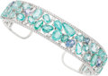 Estate Jewelry:Bracelets, Paraiba-Type Tourmaline, Diamond, Tanzanite, White Gold Bracelet. ...