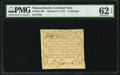Colonial Notes:Massachusetts, Massachusetts October 16, 1778 3s PMG Uncirculated 62 EPQ.. ...
