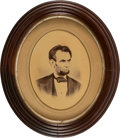 Political:3D & Other Display (pre-1896), Abraham Lincoln: Large Oval Albumen Displayed at the Waltham Watch Factory. ...