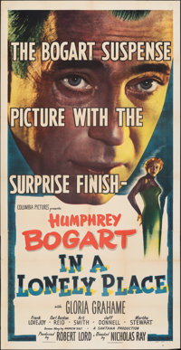 """In a Lonely Place (Columbia, 1950). Folded, Very Fine-. Three Sheet (41"""" X 80""""). Film Noir"""
