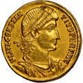 Ancients:Roman Imperial, Ancients: Constantius II, as Augustus (AD 337-361). AV solidus (21mm, 4.39 gm, 12h). NGC Choice AU 5/5 - 3/5, scratch....