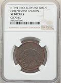 (1694) 1/2 P London Elephant Token, Thick Planchet, -- Cleaned -- NGC Details. XF. ...(PCGS# 55)
