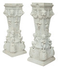 Furniture, A Pair of Napoleonic-Style Carrara Marble Figural Pedestals . 44 x 16 x 16 inches (111.8 x 40.6 x 40.6 cm) (each). ... (Total: 2 Items)