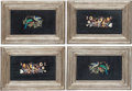 Furniture, A Set of Four Framed Italian Pietra Dura Plaques. 17 x 25 x 1 inches (43.2 x 63.5 x 2.5 cm) (each). ... (Total: 4 Items)