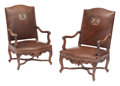 Furniture, A Pair of French Provincial Louis XV-Style Leather Upholstered Walnut Armchairs. 44 x 28 x 22 inches (111.8 x 71.1 x 55.9 cm... (Total: 2 Items)