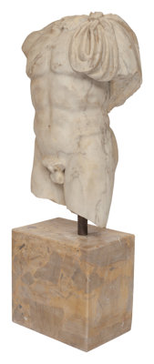 An Italian Roman-Style Marble Torso on Marble Base After the Antique 49-1/2 x 20 x 11 inches (125.7 x 50.8 x 27.9