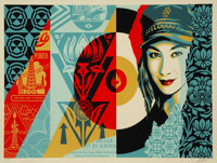 Shepard Fairey (b. 1970) Raise the Level, 2019 Screenprint in colors on speckled cream paper 24 x