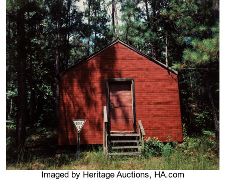 William Christenberry Jr. (American, b. 1936) Red Building in Forest, Hale County, Alabama, 1989 Dye coupler, 1994 17...