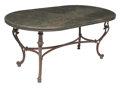 Furniture, A Pompeian-Style Oval Iron Table with Green Marble Top. 30-1/2 x 69-1/2 x 37-1/2 inches (77.5 x 176.5 x 95.3 cm). ...