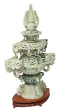 Carvings, A Chinese Carved Jadeite Censer on Stand. 24 x 12-1/2 x 7 inches (61.0 x 31.8 x 17.8 cm). ...