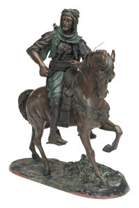 A Large Patinated and Polychrome Bronze Figure of a Man on Horseback after Barye Marks: ASB, BARYE 5