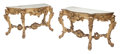 Furniture, A Pair of Italian Carved Giltwood Console Tables with Marble Tops. 36 x 68 x 30 inches (91.4 x 172.7 x 76.2 cm). ... (Total: 2 Items)