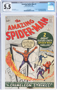 The Amazing Spider-Man #1 (Marvel, 1963) CGC Conserved FN- 5.5 Off-white pages
